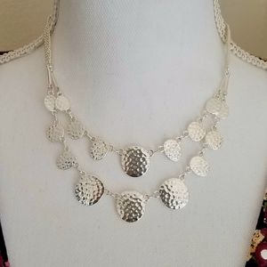 Hammered Disc Double Strand Necklace